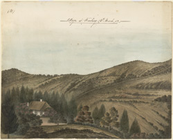 Kartary, near Ootacamund.  Hilly landscape with bungalow.  8 March 1852